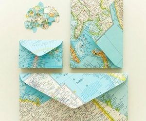 map, envelope, and world image