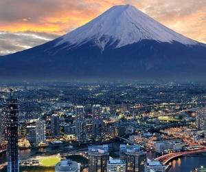 japan, city, and fuji image