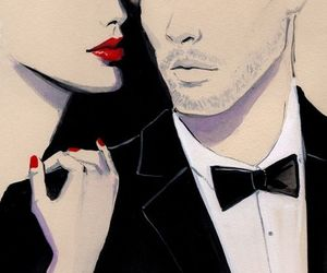 couple, art, and red image
