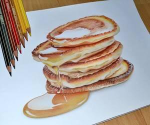 pancakes, art, and drawing image