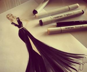 dress, black, and drawing image