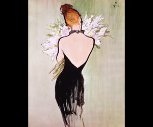 backless, black dress, and bouquet image