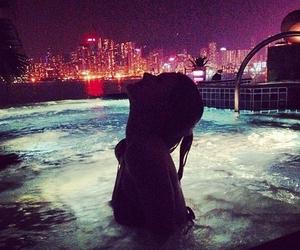 girl, city, and pool image