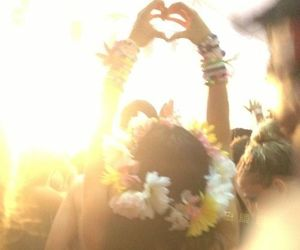 flowers, heart, and hippie image