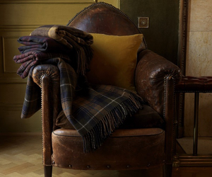 vintage leather, leather chair, and tartan throws image