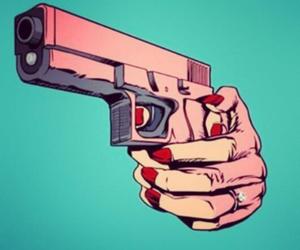 gun, pink, and woman image