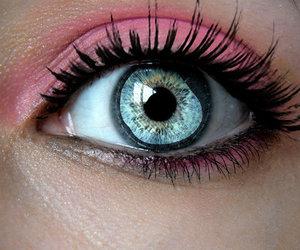 eye, pink, and eyes image
