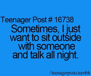 talk, all night, and sit outside image
