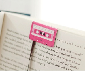 bookmark, casette tape, and pink image