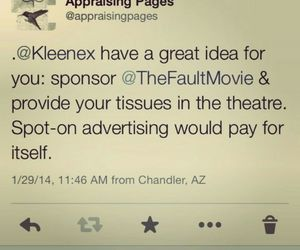 kleenex, the fault in our stars, and sponsor image
