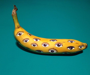 banana, eyes, and art image