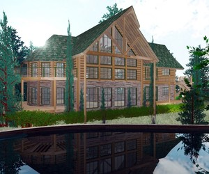 architecture, kind of natural home, and timber and log home image
