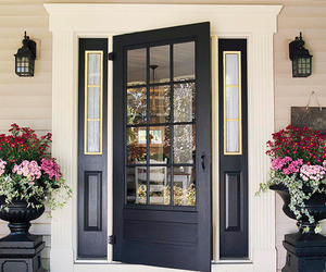 house, flowers, and door image
