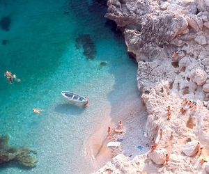 beach, boat, and rock image