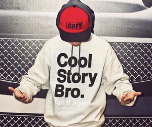obey, cool story bro, and boy image