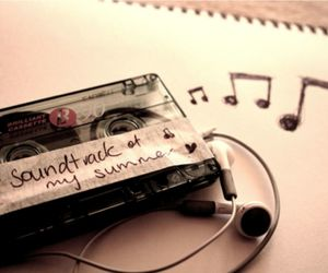 casette, earphone, and music image