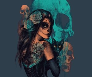 skull, cat, and girl image