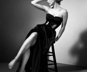 emma watson, dress, and black and white image