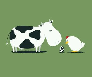 Chicken, cow, and egg image