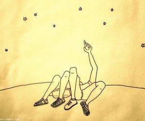 stars, couple, and night image