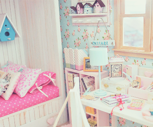 pink, room, and bedroom image