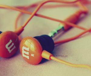 music, orange, and m&m image