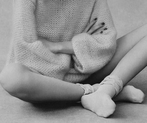 socks, girl, and black and white image