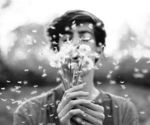 boy, flowers, and black and white image
