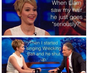 funny, Jennifer Lawrence, and miley cyrus image