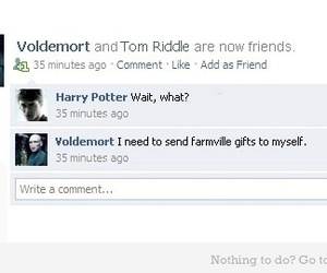 harry potter, voldemort, and facebook image