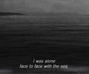 sea, alone, and black and white image