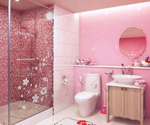 hello kitty, pink, and bathroom image