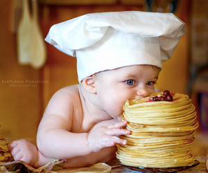 baby, pancakes, and cook image