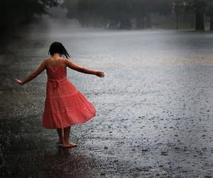 rain, girl, and dress image
