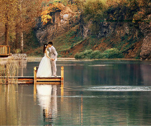 couple, wedding, and lake image