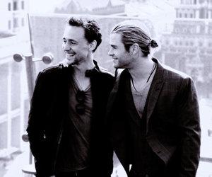 black and white, chris hemsworth, and tom hiddleston image
