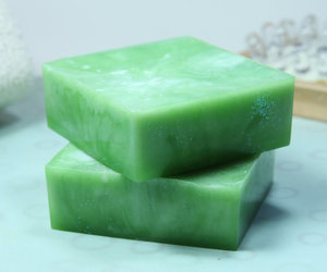 green, glycerin soap, and homemade image