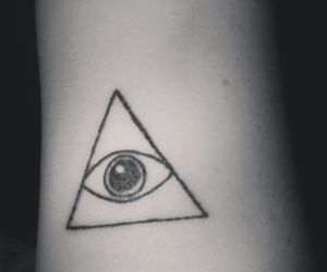 eye, tattoo, and triangle image