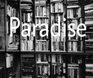 black and white, paradise, and books image