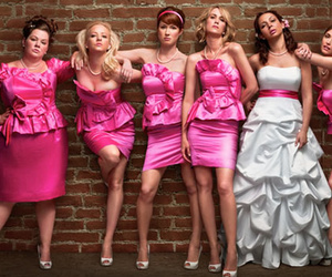 bridesmaids, wedding, and pink image