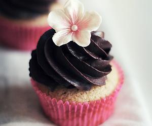 cupcake, chocolate, and flower image