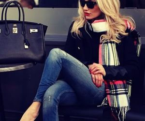 fashion, scarf, and jeans image