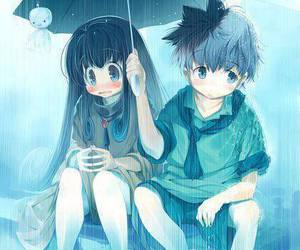 rain, love, and blue image