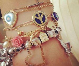 bracelet, peace, and heart image