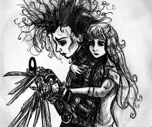 edward scissorhands, black and white, and johnny depp image
