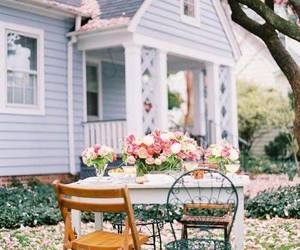 flowers, garden, and blue house image