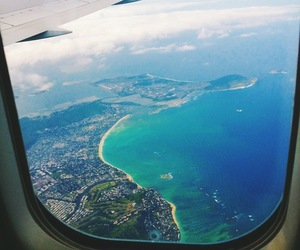 plane, travel, and ocean image