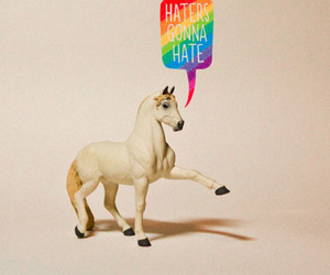 haters, rainbow, and unicorn image