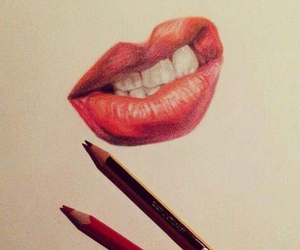 lips, art, and red image