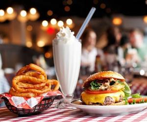 food, burger, and milkshake image
